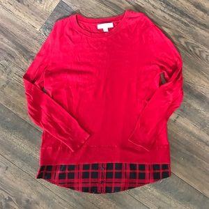 Michael Kors Red Sweater w/ Faux Plaid Undershirt